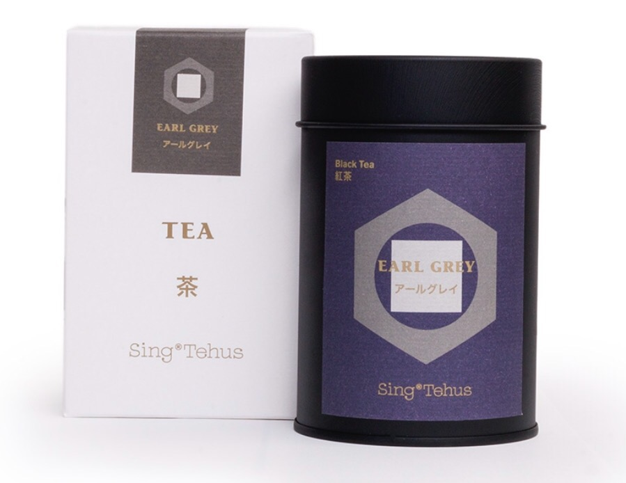 Sing Tehus Earl Grey tea tin and box